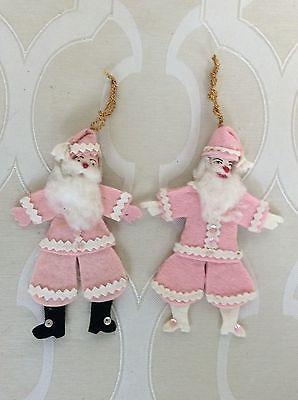 Pair Vintage Felt Sequin Santas with Spun Cotton Heads & Cotton Beards and Hair