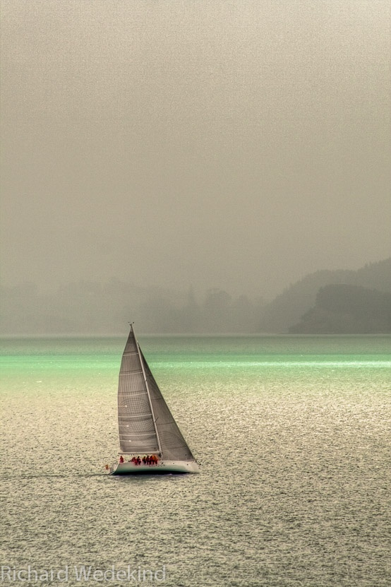The Yacht Celedon races in the Waiheke Channel near Auckland, New Zealand.