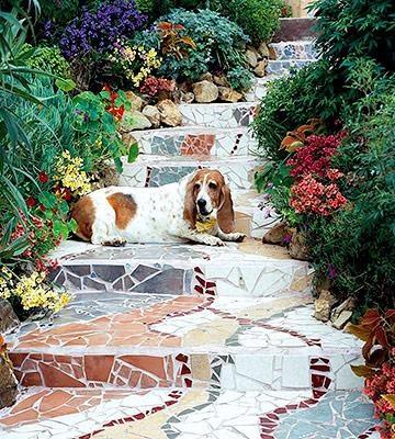 Swirling Steps: Gardens Walkways, Gardens Step, Gardens Paths, Mosaics Stairs, Mosaics Gardens, Mosaics Step, Mosaics Walkways, Mosaics Projects, Gardens Stairs