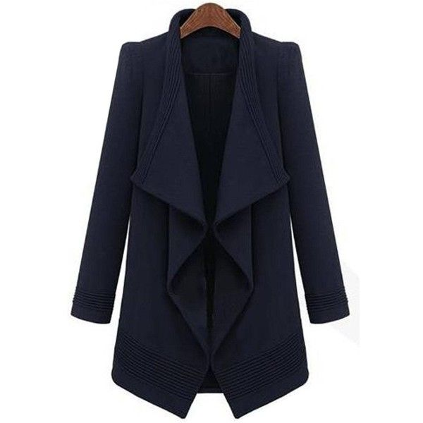 Yoins Waterfall Trench Coat in Navy with Belt (4,595 INR) ❤ liked on Polyvore featuring outerwear, coats, belted coat, trench coats, blue coat, blue trench coat and navy blue coat