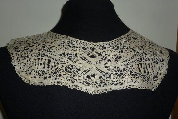 Antiguo encaje de seda crema Maltés collar encaje hecho a mano