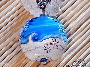 "Ster Class, Искуснова Оксана авторский лэмпворк (SOVARTstudio), ""Surf's Up"" lampwork bead pendant for marine-style"