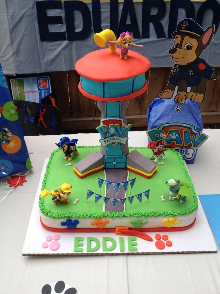 paw patrol tower cake