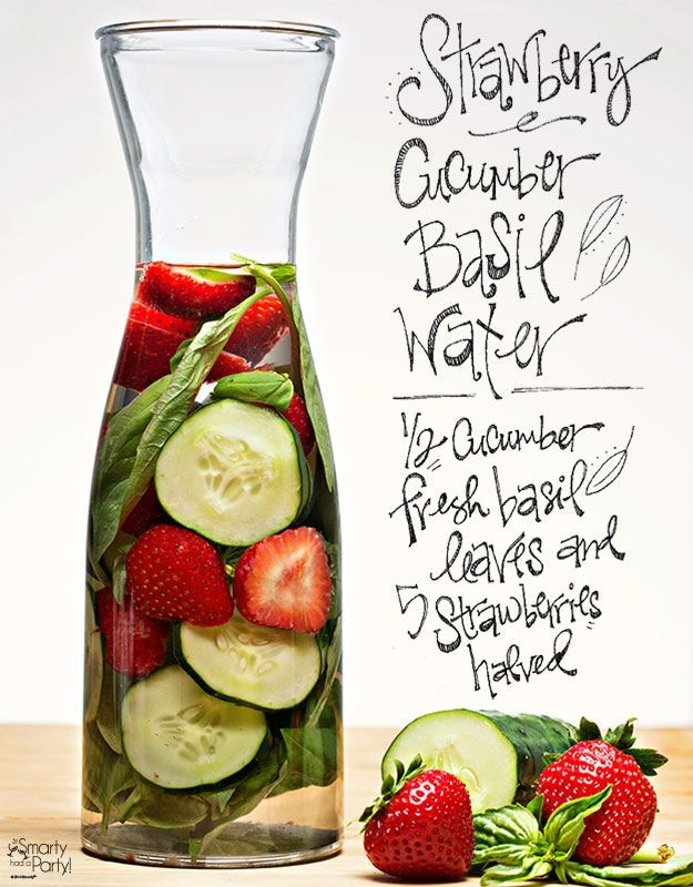 Strawberry Cucumber Basil infused water   Smarty Had A Party