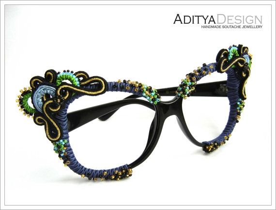 Soutache Glasses, Soutache Jewelry, Blue Black Gold, Soutache, Soutage, Lady Vashij Model unique by AdityaDesign, $159.00