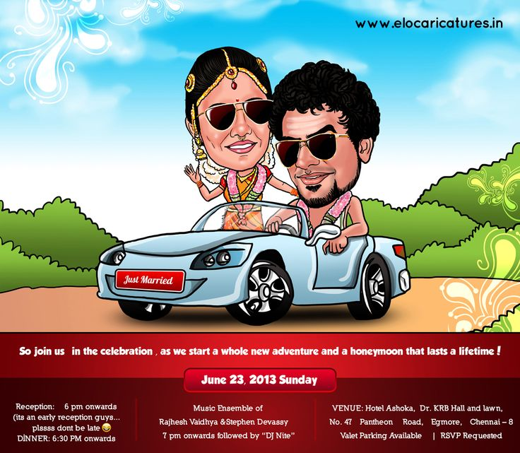 www.elocaricatures.in -- contact for caricature wedding invitations