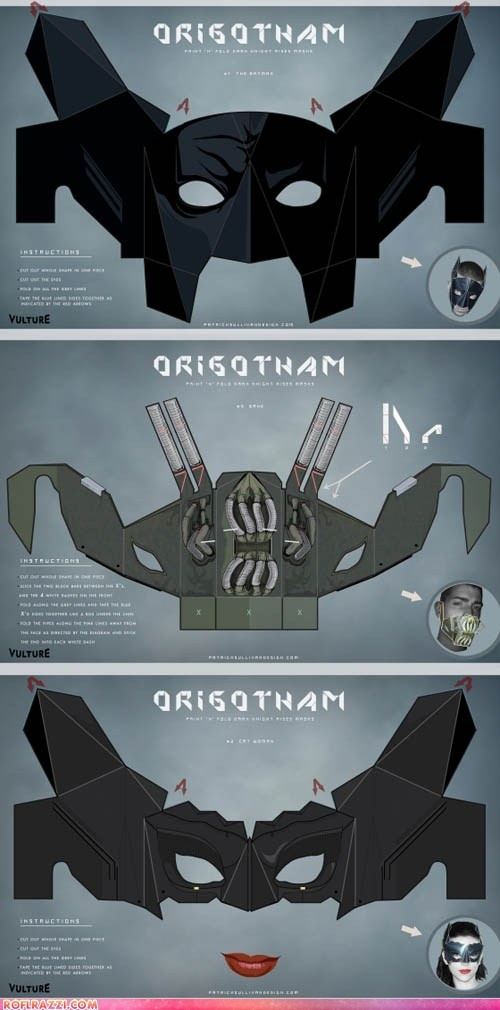ORIGOTHAM! Fold Your Own Batman, Bane, and Catwoman Masks! I'M GEEKING OUT MAN!