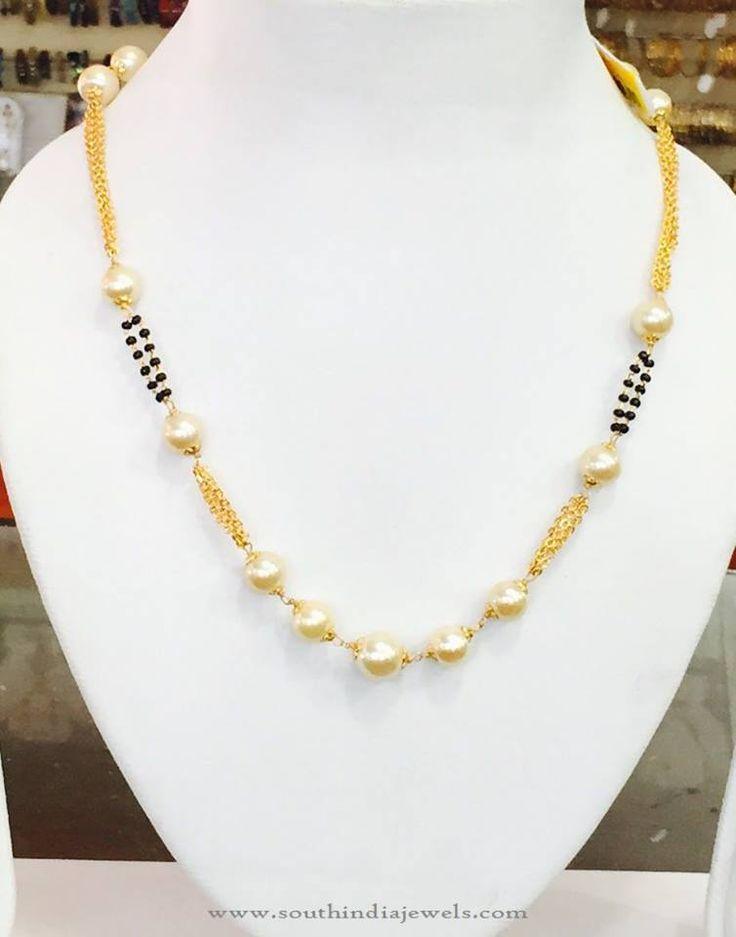 Imitation Pearl Chains, Imitation Pearl Mala, Pearl Short Chain Designs.