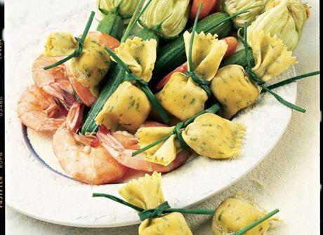 Saccottini con gamberi e zucchine