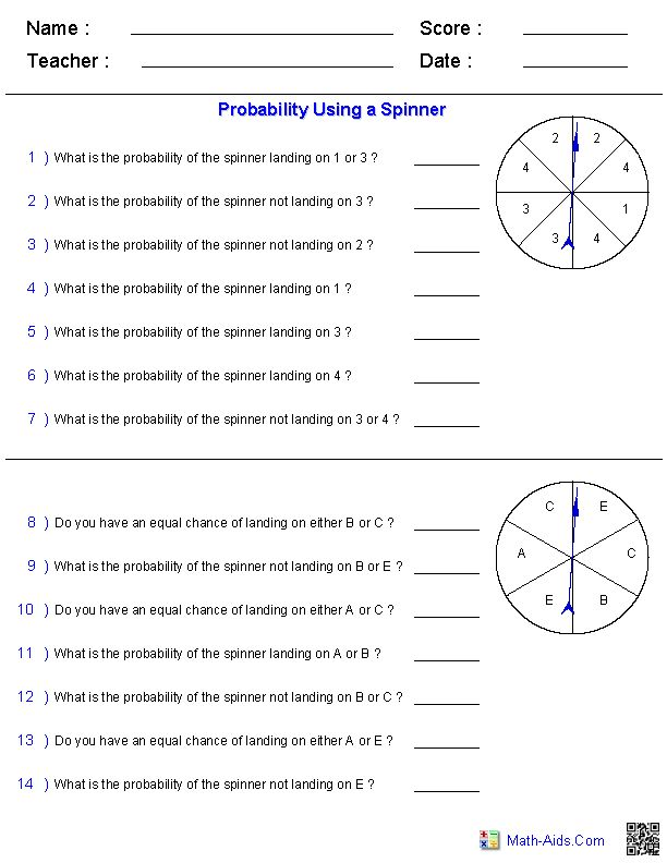 Probability Worksheets Using a Spinner
