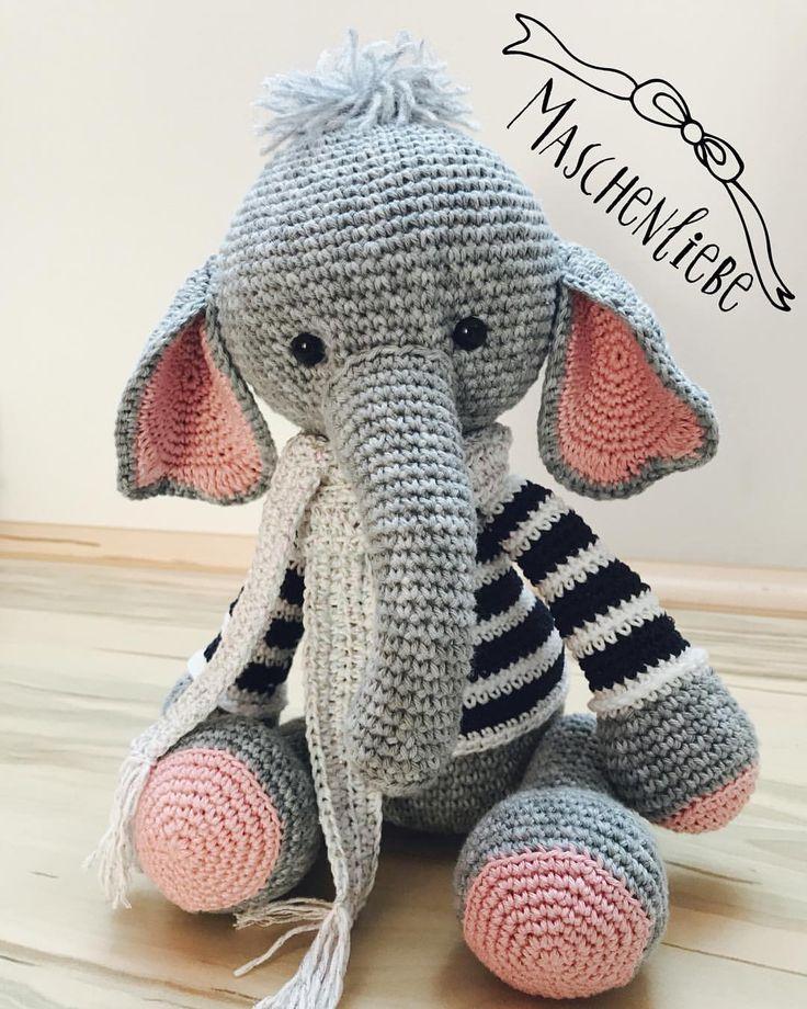 """Gefällt 27 Mal, 2 Kommentare - Sarah Schröter (@haekelnmitliebe) auf Instagram: """"#Tata mein zweiter Elefant von @mykrissiedolls  #haekelnmitliebe #maschenliebe #elefant…"""""""