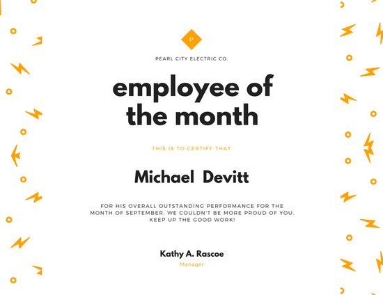 16 best employee certificate images on pinterest certificate employee of the month certificate template orange lightning employee of the month certificate templates by pronofoot35fo Image collections