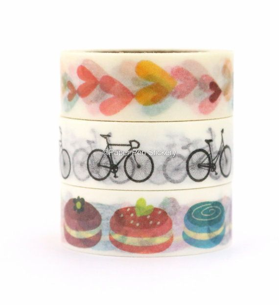 Cute Spring Macaron Washi Tape Set of 3 Summer Heart Bicycle Stationery Planner…