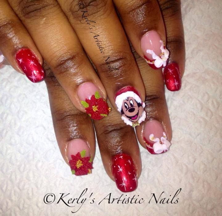Christmas Nail Art Gallery: 52 Best Mickey And Minnie Mouse Nail Designs Images On