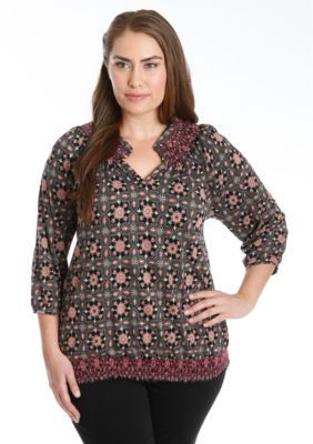 Lucky Brand  Plus Size Tiles Smocked Top