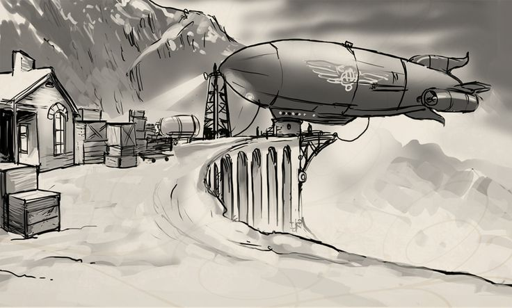 The Zeppelin.Concept art from Clockwork Tales: Of Glass and Ink #steampunk #adventure #game www.artifexmundi.com/page/clockwork/ www.facebook.com/ArtifexMundi.ClockworkTales