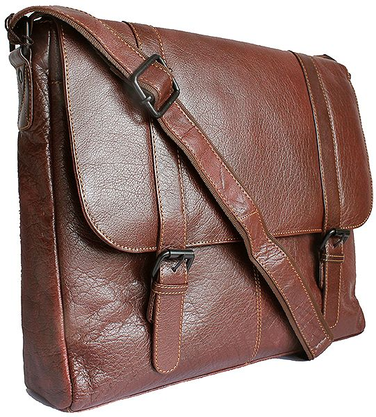 Kenneth Browne Men's Messenger Style Brown Leather Briefcase