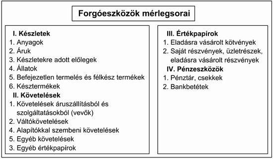 A forgóeszközök mérlegsorai (kép).