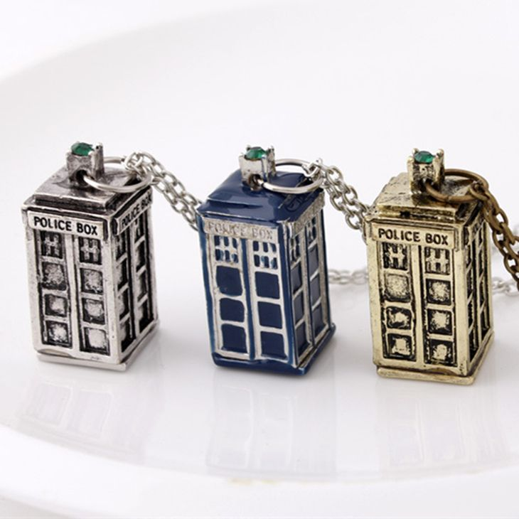 dr doctor who necklace tardis police box vintage blue silver bronze pendant jewelry for men and women wholesale