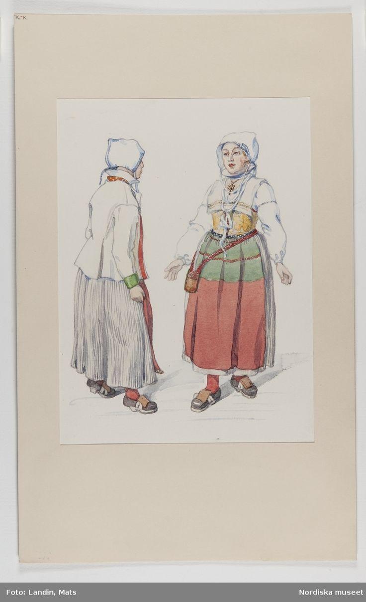 Sommarhögtidsdräkt för gift kvinna, Mora socken, DalarnaAkvarell av E.v.Walterstorff.Emelie von Walterstorff. @ DigitaltMuseum.se