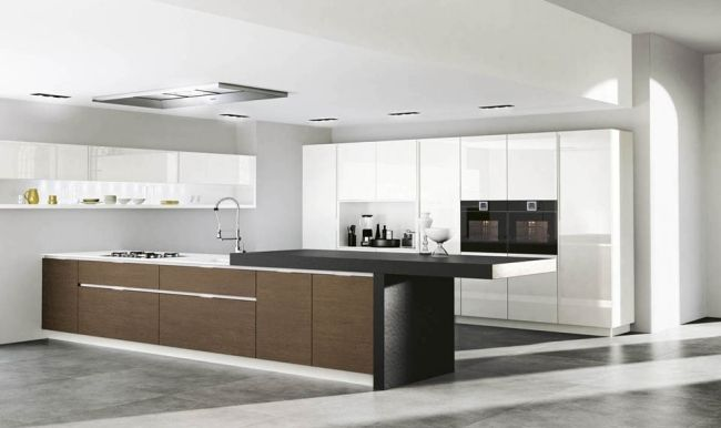 Moderne küche design kochinsel holzfront serie domus küche
