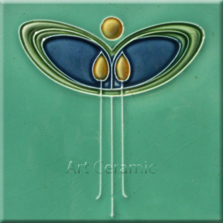 Art Nouveau Ceramic decorative wall tile 6 X 6 Inches #1a in Home & Garden, Home Décor, Tile Art | eBay