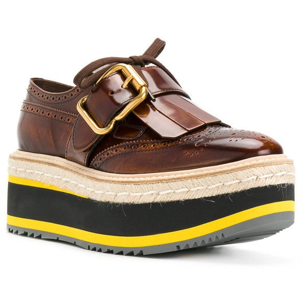 Prada platform brogues ($590) ❤ liked on Polyvore featuring shoes, oxfords, formal shoes, platform oxfords, prada oxford, brown oxfords and leather oxfords