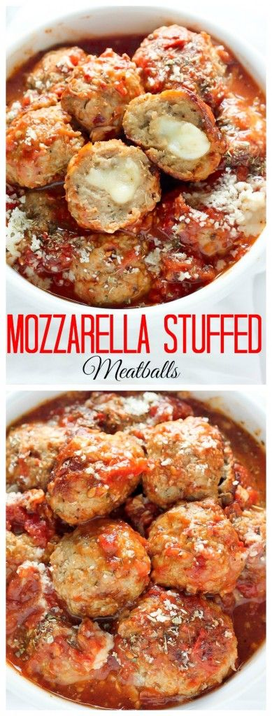 30-Minute Mozzarella Stuffed Turkey Meatballs with Homemade Marinara Sauce