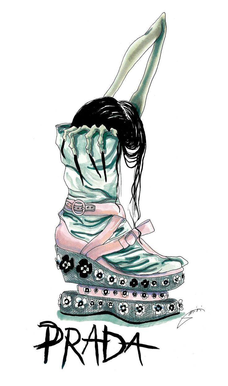 prada shoes funny looking cartoon characters