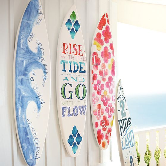 Rise with the tide and go with the flow - like this for a beach house quote (3-D Surfboard Art | PBteen above bed on high wall?  $200 each)