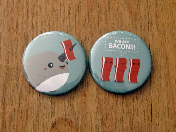 A stocking stuffer for that one-of-a-kind person that loves bacon and narwhals.