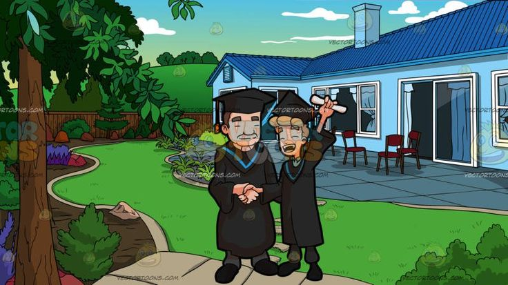 A Man Raising His Diploma As He Poses For A Photo With The Faculty Head Of His Course During Graduation At A Landscaped Backyard Of A House:  A blue eyed male college graduate with blonde hair wearing a black academic dress and cap with a blue bordered hood over his blue collared shirt gray pants and black shoes left hand raising up a rolled white diploma closes his eyes and shouts in glee as he shakes the hand of the faculty head wearing the same academic dress over his gray pants and black…
