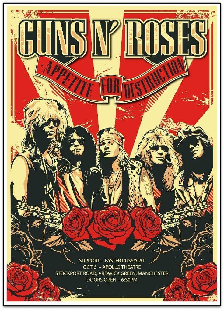 Commemorative concert poster for Guns N' Roses Appetite For Destruction Tour at The Apollo Theatre in Manchester, UK in x inches on card stock. Rock Posters, Guns N Roses, Roses Quotes, Rock And Roll, Rock Vintage, French Vintage, Concert Rock, Rose Foto, Vintage Music Posters