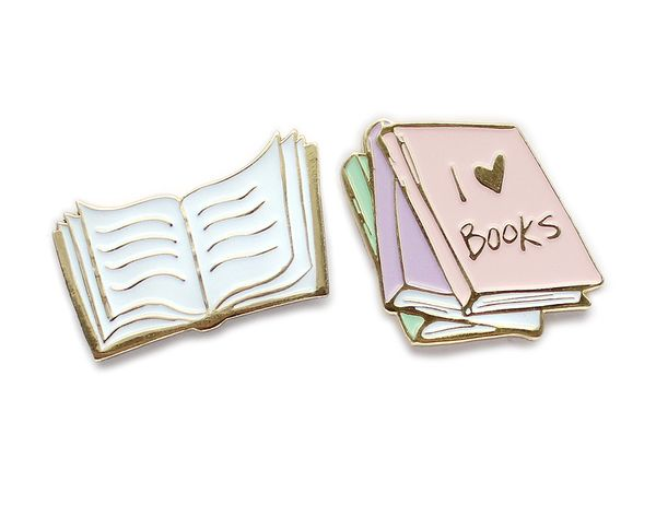 Bookworm enamel lapel pin set