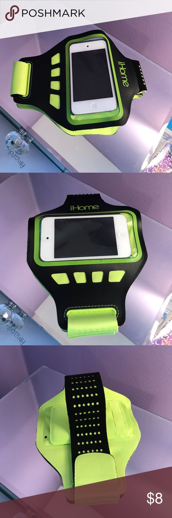 iHome Armband iHome armband. Great for running or using at the gym. Fits small iPhones and iPods. Will not fit any Apple plus size phones. This is for older models. Velcro's around arm. Device slides in and a hole for headphone jack is also included Accessories