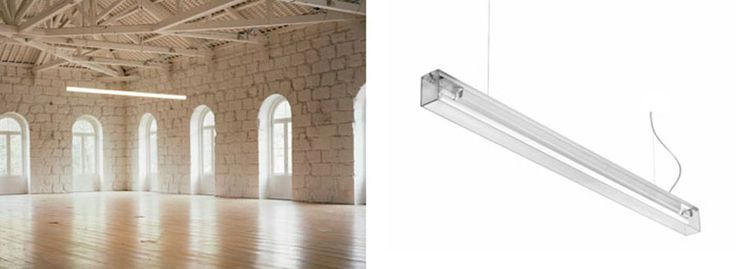 'NUDE' Pendant Clear Linear Luminaire, direct light, in aluminium profile, with clear polycarbonate profile diffuser. Multiwatt electronic power supply included. Supplied with clear base power supply cable and 2000 mm long steel suspension cables.