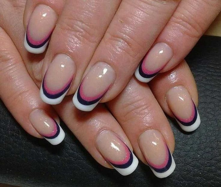 Beautiful French nails, Beautiful nails, Color french gel nail, Color french manicure, Exquisite french manicure, French manicure ideas, French manicure news 2017, Halloween french nails