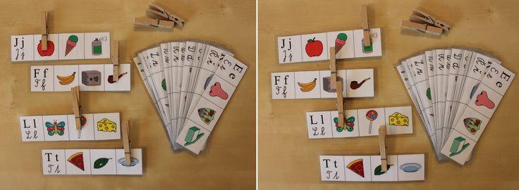 Úkolem dítěte je přichytit kolík na obrázek slova, které začíná/končí na písmenko napsané na začátku .