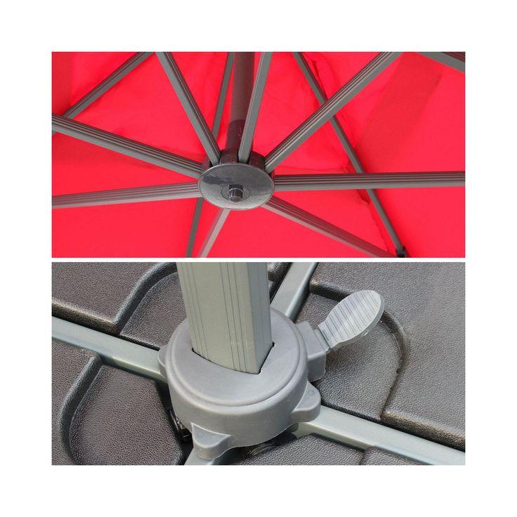 Alice'S Garden - Parasol déporté carré 3x3m haut de gamme excentré inclinable rotatif à 360° Rouge - pas cher Achat / Vente Parasols - RueDuCommerce