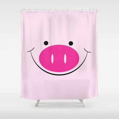 Smiley Pig Face Digital Design Print Shower Curtain by Bees Pretty Prints - $68.00