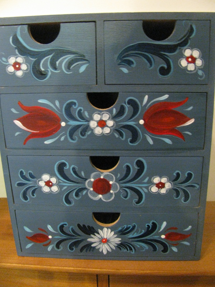 Chest of drawers I painted  in Rogaland Rosemaling style