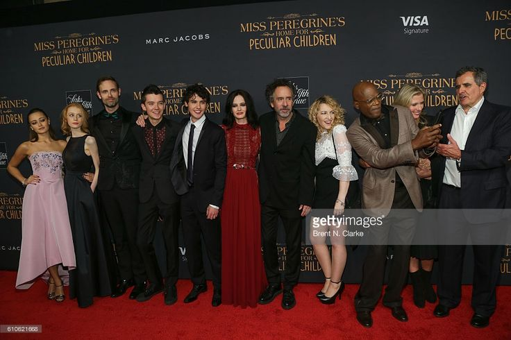 Actresses Ella Purnell, Lauren McCrostie, writer Ransom Riggs, actors Asa Butterfield, Finlay MacMillan, Eva Green, director Tim Burton and actor Samuel L. Jackson attend the 'Miss Peregrine's Home for Peculiar Children' New York premiere held at Saks Fifth Avenue on September 26, 2016 in New York City.