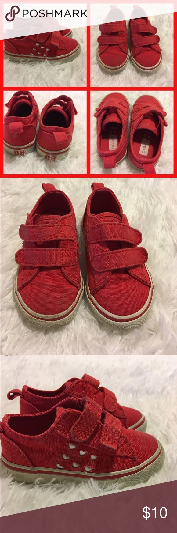Crazy 8 Size 6 toddler girl's red shoes w/ hearts Cute red shoes with hearts on the side from Crazy 8. Size 6 and cute!  Can go with jeans, leggings, skirts, dresses, overalls, pants, etc. Bundle with my other items and save money! Come from a smoke-free home. Crazy 8 Shoes Sneakers