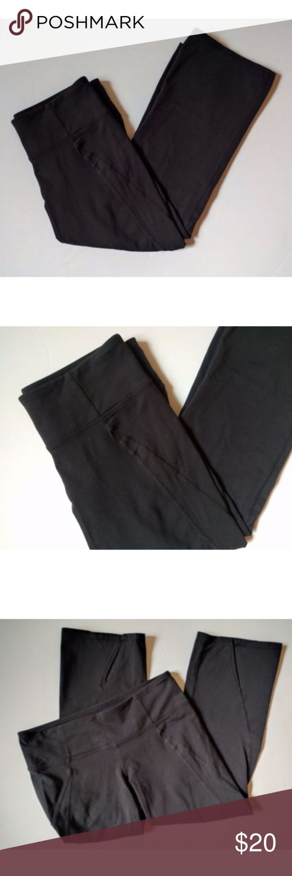 "Athleta S Black Power Up Capri Yoga Leggings Athleta S Black Power Up Capri Yoga Leggings Back Slits #268553  The yoga capri with a flattering straight leg and a notch-back hem -INSPIRED FOR: yoga, studio workouts, gym/training  Size Small Label waist: 14.5"" hip: 16"" inseam: 22"" outseam: 28.5"" leg opening: 7.5"" front rise: 7"" back rise: 8.5""  Condition: Item is in gently used condition. Free of any holes or stains in fabric and stored in a smoke free environment. Athleta Pants Capris"