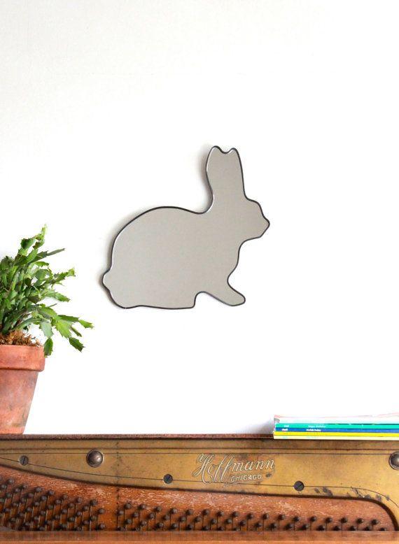 SALE / Rabbit Mirror / Handmade Wall Mirror Easter by fluxglass, $68.00
