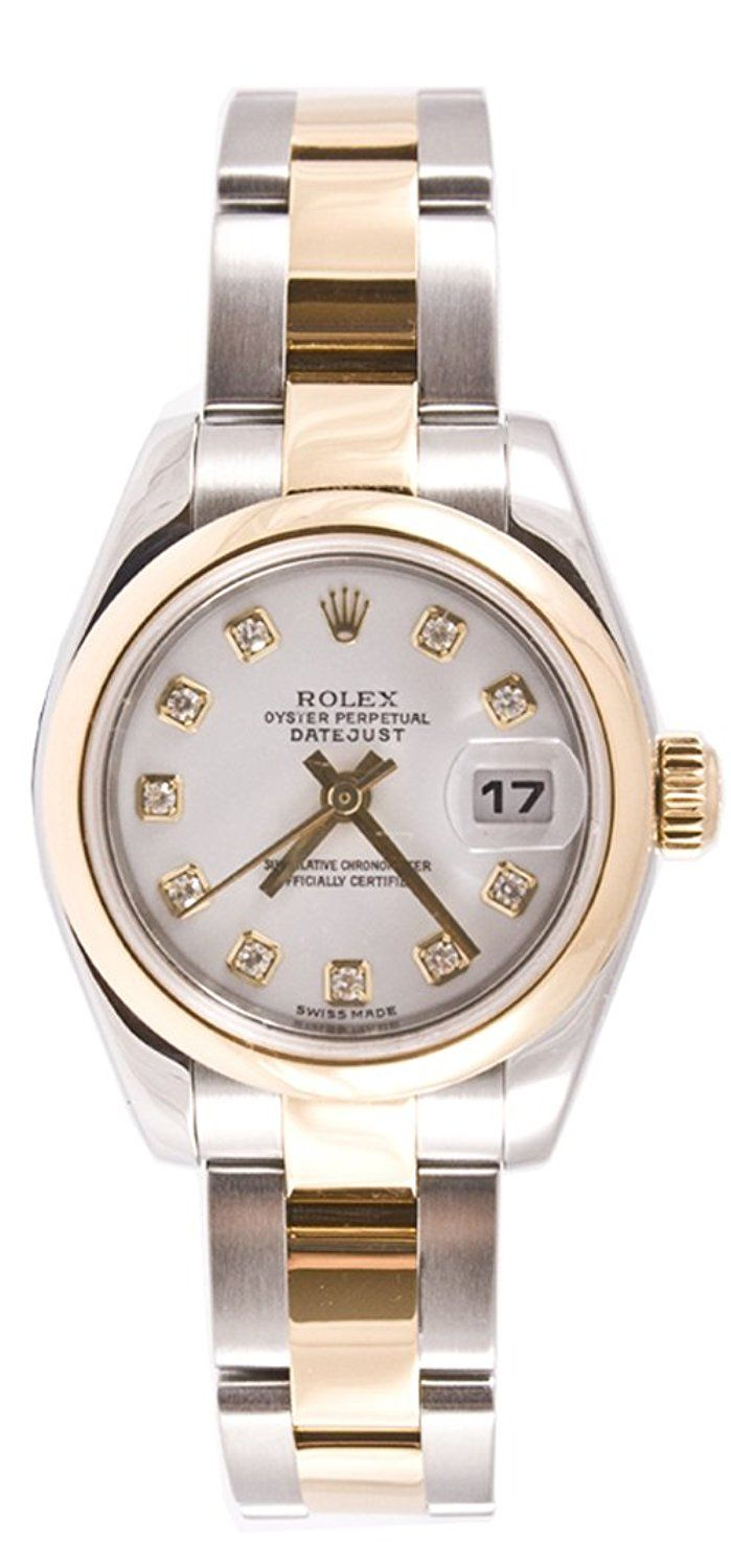 Rolex Ladys 179163 Datejust Gold Oyster Band, Smooth Bezel and White Diamond Dial -- See this great image  : Coach Women Watches