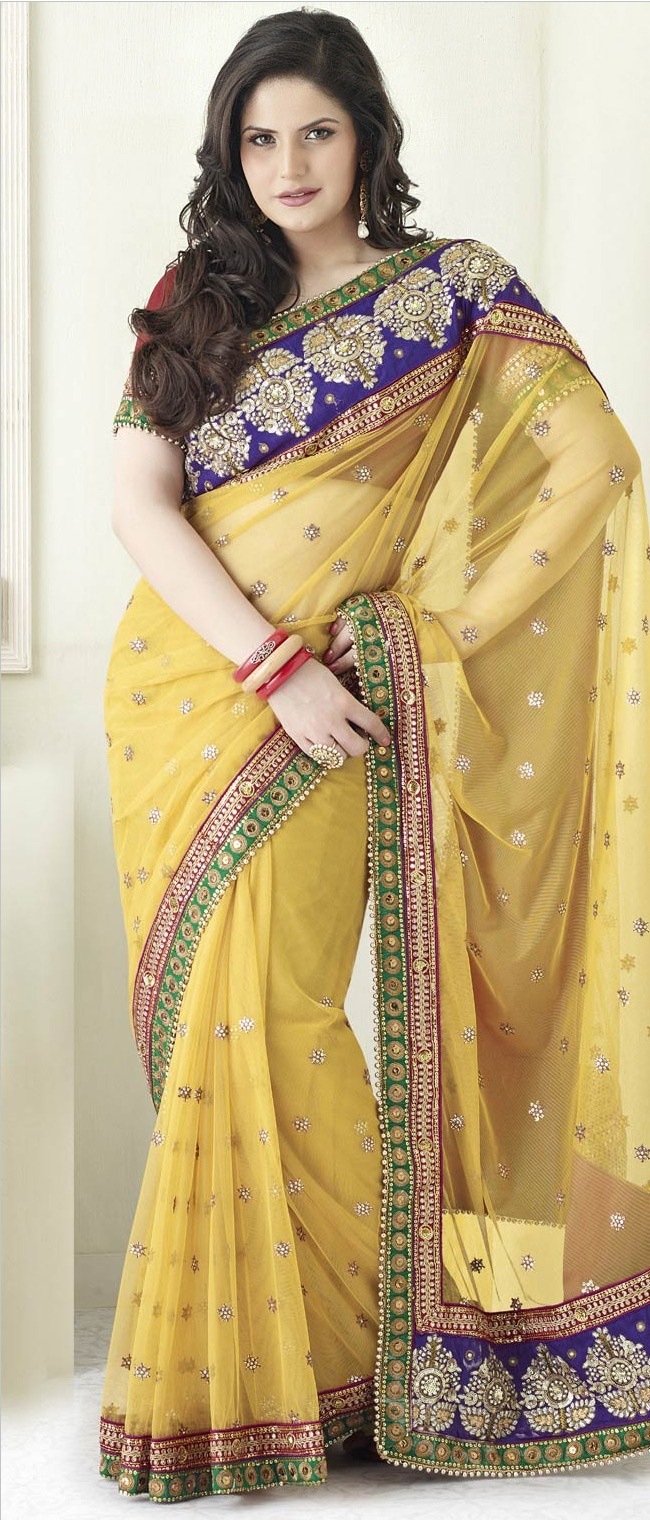 #Yellow Net #Saree With Blouse @ $152.90