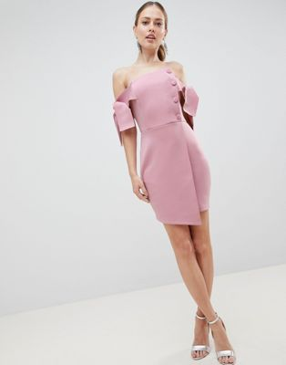 DESIGN bardot tie sleeve button wrap mini dress in 2019  aed322af528d6
