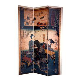 Oriental Furniture�Room Dividers 3-Panel Multicolor Folding Indoor Privacy Screen