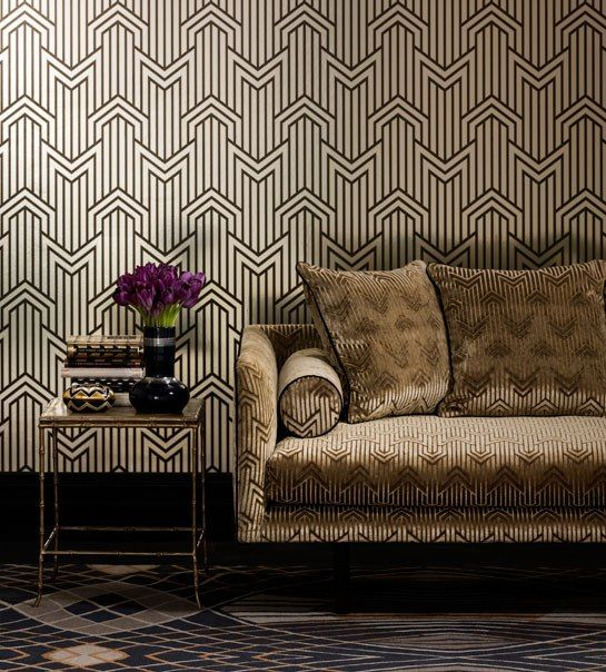 architectural digest wallpaper | Martin's Limelight foil wallpaper in gold lines the walls, while a ...